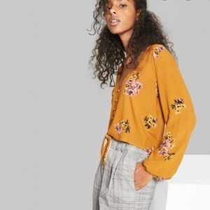 WILD FABLE Floral Print Long Sleeve Front Tie Top